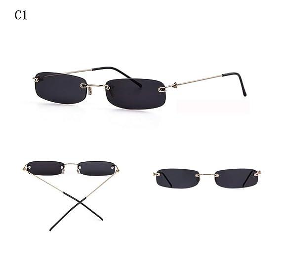 56436b86841 Amazon.com  Oath song Cutout Rimless Lens Thin Rectangular Sunglasses Small  Size (C1-black)  Clothing