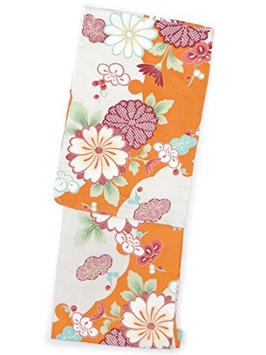 バンベールヶ月目洗える着物 袷 小紋 ナカノヒロミチ Mサイズ 単品「オレンジ 菊に雪輪」HAM601