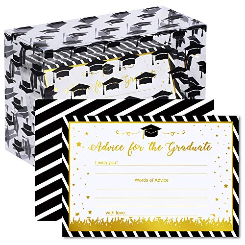 (Supla 70 Pcs Graduation Cards Advice Cards Gold Foil Black Striped Well Wishes Cards Wishing Cards Words of Wisdom Cards with Box Graduation Memory Cards Advice for High School College Grad Cards)