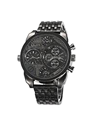 OULM Big Dial 3 Sub-Dials Stainless Steel Band Military Quartz Men's Wrist Watch 9316