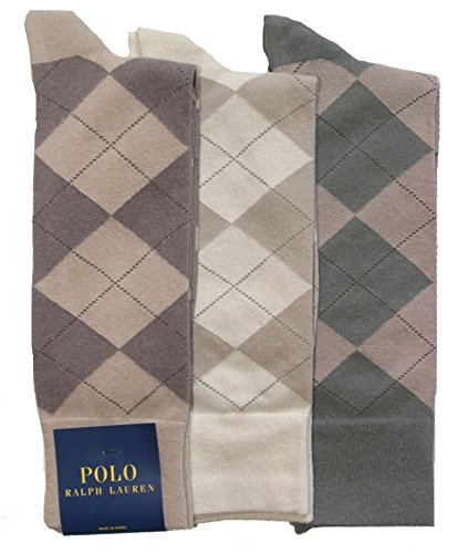 Polo Ralph Lauren Men's 3-pack Argyle Dress Socks (10-13, Khaki Assorted) -
