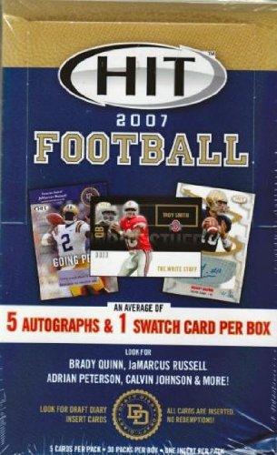 2007 Sage Hit Football HOBBY Box 30 Packs//Box - 5 Cards//Pack