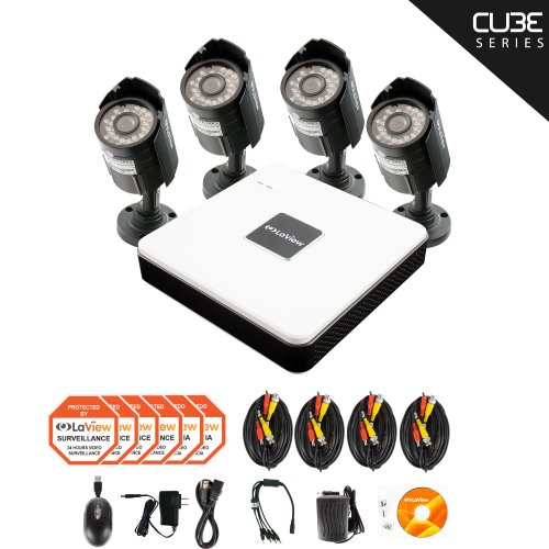 LaView Cube Series 4 Channel Compact Surveillance System with Cloud Storage, 500GB HDD, 4 x 600TVL Bullet Cameras, Remote Viewing on your Smartphones, tablets, and computers - LV-KD5144C-G5