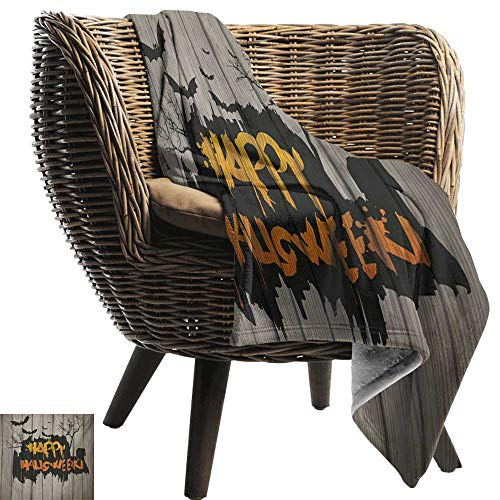 BelleAckerman Flannel Throw Blanket,Halloween,Happy Graffiti Style Lettering on Rustic Wooden Fence Scary Evil Holiday Artwork,Multicolor,Super Soft and Warm,Durable Throw Blanket 30
