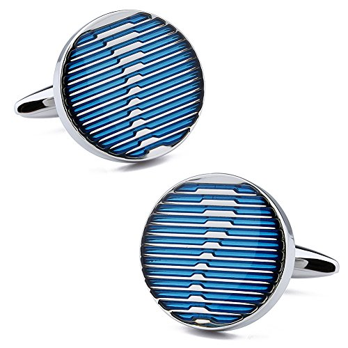 HAWSON Mens Cuff Links Blue Round Cuff Button for French Shirt Accessories Blue Round Cufflinks