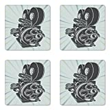 Lunarable Modern Coaster Set of Four, Vintage Movie Camera Figure in Monochrome Color on Starburst Background, Square Hardboard Gloss Coasters for Drinks, Grey Blue and Sky Blue