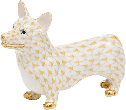 Herend Corgi Dog Figurine Butterscotch Fishnet