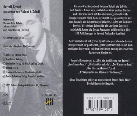 Berthold Brecht Gesungen By Antoni Schall Amazoncouk Music