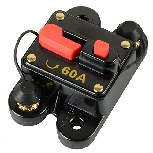 (RKURCK Circuit Breaker 60A, Amp Fuse Holder Trolling Motor Auto, Car, ATV, Bike, Marine, Boat Stereo Audio Inline Fuse Inverter Relays (60A))