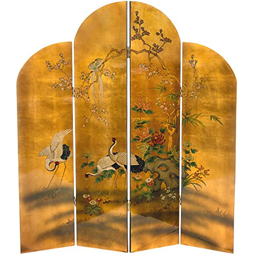 - Oriental Furniture 6 ft. Tall Golden Cranes Screen