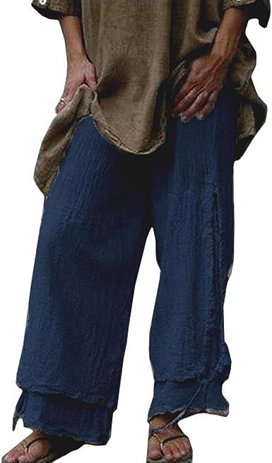 Kunfang Pantalón Baggy de Talla Grande para Mujer Cintura elástica ...