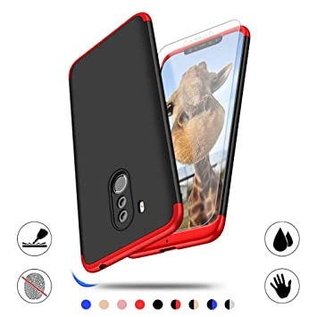 AChris Xiaomi Pocophone F1 Carcasa 360° Ultra Fina Protectora cojín con Vidrio Templado Pantalla Protector, 3 in 1 Hard Caja Caso Skin Case Cover ...