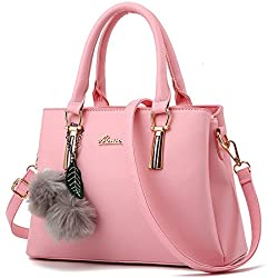 NWT Womens 3 Seperate Compartment Medium Size Leather Crossbody Top-handle Satchel Handbags,Pink
