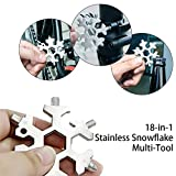 18-in-1 Stainless Steel Snowflakes Multi-Tool Card, Snowboarding Multi-Tool Screwdriver Tool for Opener Key chain/Bottle Opener/Outdoor Travel Camping/Fashion Pendant Pocket/Gift for Men(silver)