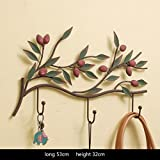 ZY Coat hooks Creative Hooks Decoration Iron wall door hook key American Style Village (Color : A)