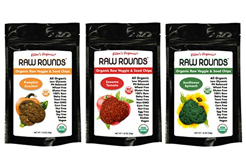 Raw Rounds Organic Raw Veggie & Seed Chips Superfood Snacks Variety 3 pack- Pumpkin Zucchini, Sesame Tomato, & Sunflower Spinach