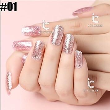 6 Color Rosa Purpurina Serie Brillo Uñas Gel Uv Polaco Soak