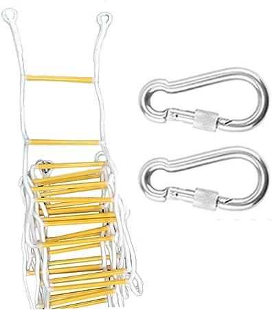 Escalera de emergencia for cuerda de escape de incendios, (2-7 pisos) Escaleras de seguridad resistentes al fuego con 2 ganchos Dispositivo descendente Edificio personal Salida de evacuación de emerge: Amazon.es: Hogar