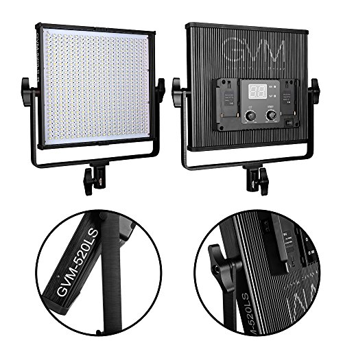 GVM 520  LED Video Light CRI97 Plus & TLCI 97+ Plus 18500lux@20 inch Variable color temperature 3200-5600K with Digital Display for Video Making and Location Shooting, Interview, Portrait, Black by GVM