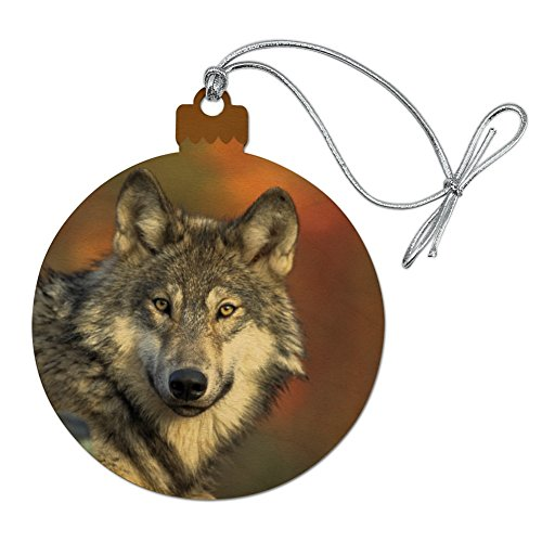 GRAPHICS & MORE Gray Wolf with Fall Background Wood Christmas Tree Holiday Ornament
