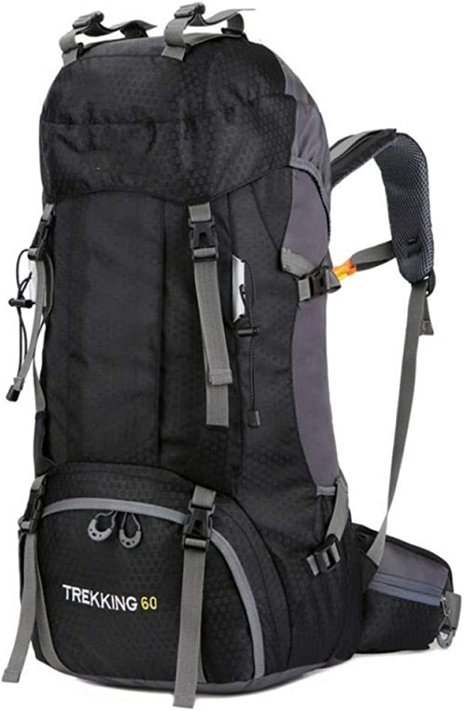 HUYANNABAO 60L Outdoor Backpack Camping Bag with Rain Cover Waterproof Mountaineering Hiking Backpacks Sport Bag Climbing Rucksack