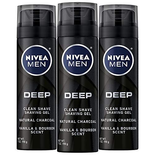 NIVEA Men DEEP Clean Shaving Gel – With Natural Charcoal To Clean While Shaving – 7 oz. Can (Pack of 3)