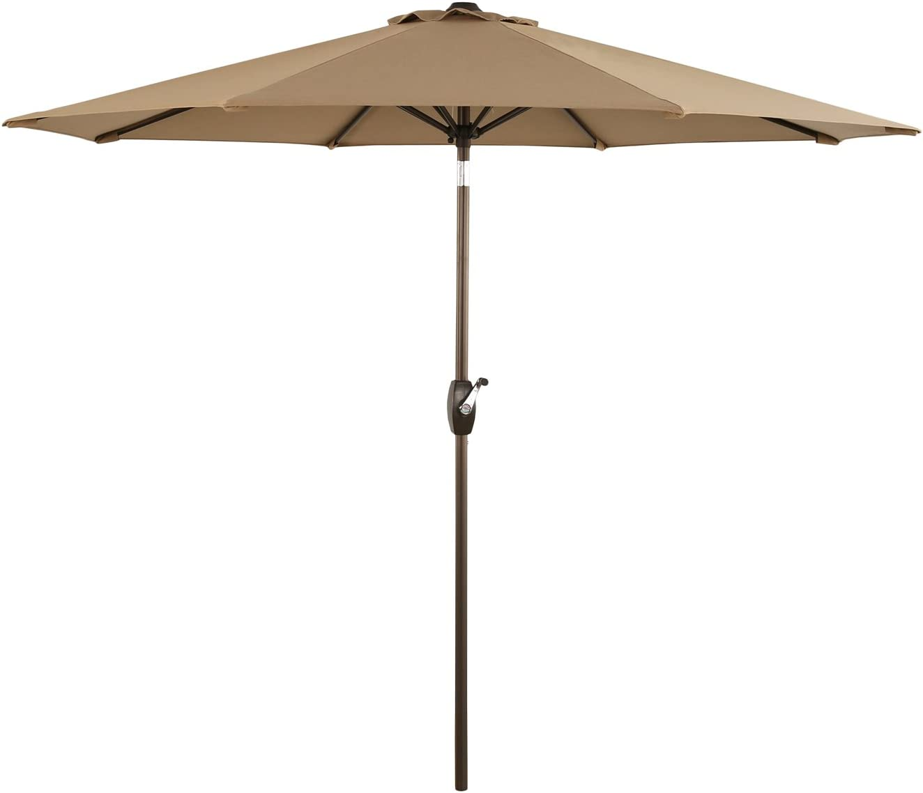 Ulax Furniture 9 Ft Outdoor Umbrella Patio Market Umbrella Aluminum with Push Button Tilt Crank, Sunbrella Fabric, Heather Beige