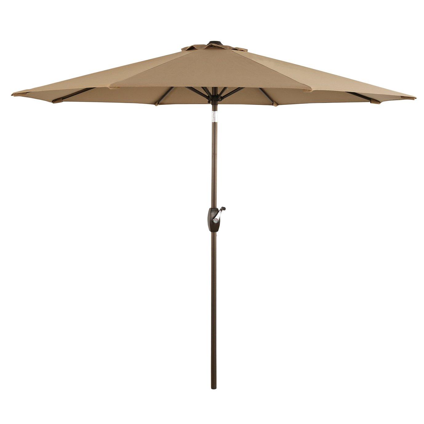 Ulax Furniture 9 Ft Outdoor Umbrella Patio Market Umbrella Aluminum with Push Button Tilt Crank, Sunbrella Fabric, Heather Beige