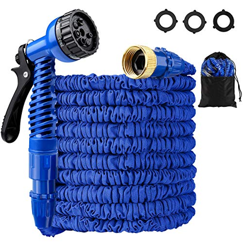 Expandable Garden Hose Kit, LOKMAN 25FT Stretchable Water Hose with Nozzle and Solid Fittings. Flexible Lightweight Maneuverable Hose for Outdoor Garden Lawn Car Watering Plants. Full Set Ready (25ft) (Expandable Water 25ft Hose)