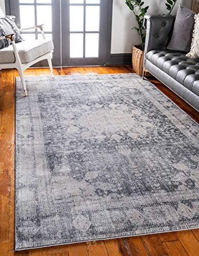 Unique Loom Asheville Collection Vintage Traditional Medallion Gray Area Rug 9 0 x 12 0
