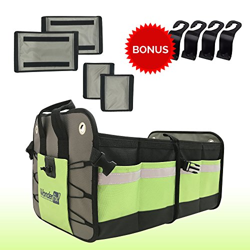 Premium Auto Trunk Organizer | Bonus Backseat Storage Hooks | Perfect Storage Solution for Car, SUV, Van, Trunk, Home | Strong 1680D Polyester Material | Unique Awesome Design (Green)
