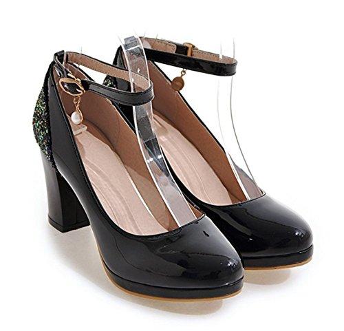 Aisun Femmes Élégant Sequins Bloc Haute Talons Robe Boucle Plate-forme Pompes Chaussures Avec Sangles De Cheville Noir