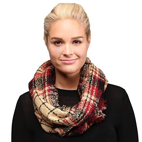 by you Infinity Scarf for Women Plaid & Tartan Winter Lightweight Circle Double Loop Cowl Scarf