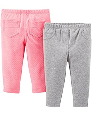 Baby Girls' 2 Pack Pants (Baby) - White/Navy