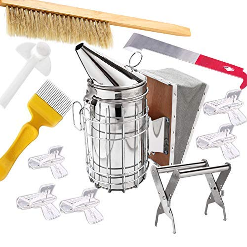 HunterBee-Beekeeping-Tools-Kit-Beehive-Smoker-Beekeeping-Accessory-Bee-Keeping-Tool-10PCS-Set