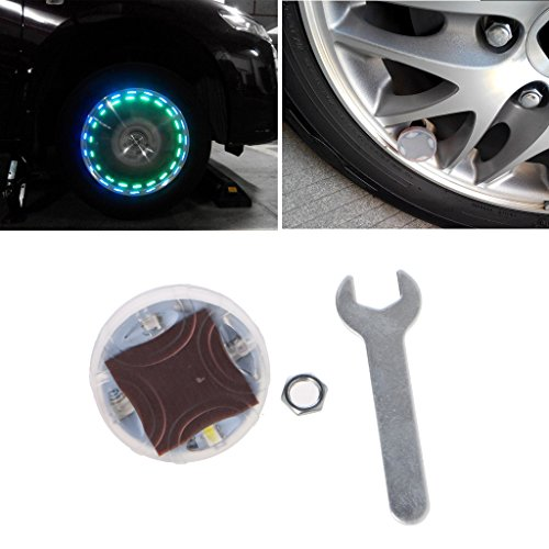 Bottone Car Auto Waterproof Solar Energy Wheel Light Lamp Decorative 4 LED Flashing Colorful LED Tire Light Gas Nozzle Cap Motion Sensors for Car Motorcycles Bicycles Spanner&Bolt Included