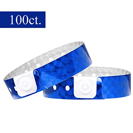 Ouchan Holographic Plastic Wristbands Blue - 100 Pack Wristbands for Events  Parties