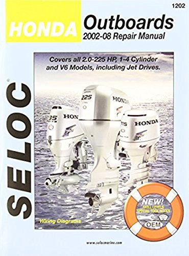 Honda Outboard Engine Repair Manual, 2.0 - 2225 HP, 1-4 Cylinders & V6, including Jet Drives (Old Outboard Motor Service Manual)