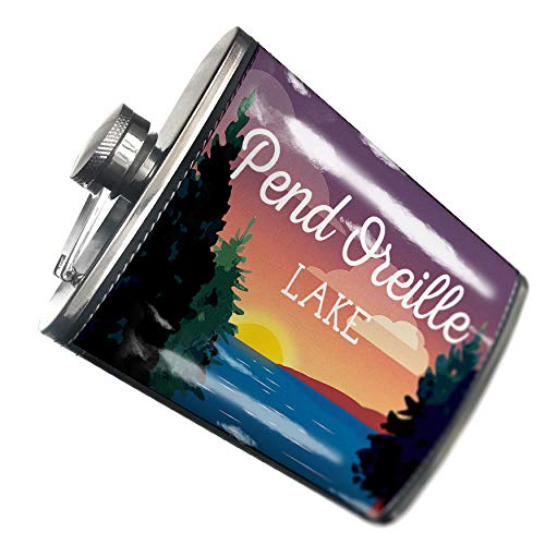 NEONBLOND Flask Lake retro design Lake Pend Oreille Hip Flask PU Leather Stainless Steel Wrapped (Outdoor Pend)