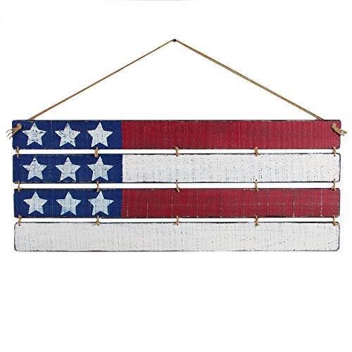 OHIO WHOLESALE, INC. Large Wooden Slatted American Flag 15