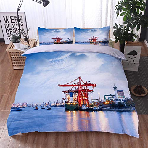 HOOMORE Bed Comforter - 3-Piece Duvet -All Season, Industrial Container Freight Trade Port Scene at Dusk,HypoallergenicDuvet-MachineWashable -Twin-Full-Queen-King-Home-Hotel -School