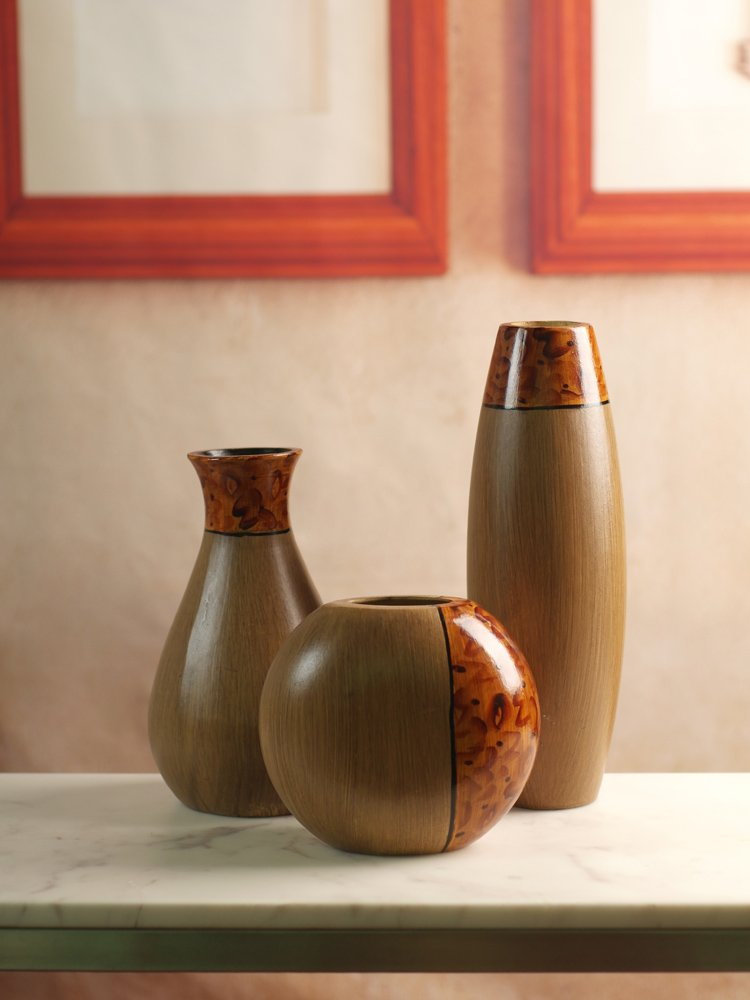 Hosley's Set of 3 Burlwood Vases. Ideal Gift for Wedding or Special Occasion and for Home Office, Decor, Floor Vases, Spa, Aromatherapy Settings O3 by Hosley (Image #3)