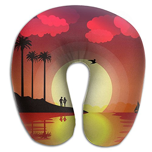 SARA NELL Memory Foam Neck Pillow Hawaii Tropical Sunset With Palm Trees Birds U-Shape Travel Pillow Ergonomic Contoured Design Washable Cover For Airplane Train Car Bus Office by SARA NELL