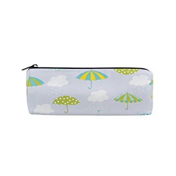 ISAOA - Estuche redondo para lápices, diseño de paraguas, portátil, bolsa de almacenamiento