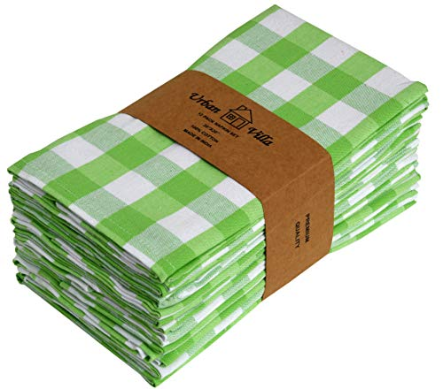 Urban Villa Buffalo Check Plaid,Premium Quality,Cloth Dinner Napkins,100% Cotton, Set of 12, Size 20X20 Inch, Green/White Oversized Cloth Napkins with Mitered Corners,Ultra Soft, Durable Hotel Quality