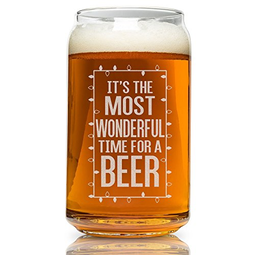 Beer Can Glass-It's The Most Wonderful Time For A Beer-Funny Christmas Present for Men and Women (Christmas Funny Cheap Presents)