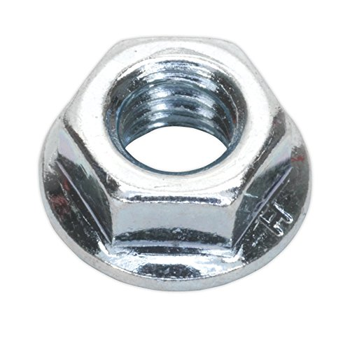 Sealey FN6 Flange Nut Serrated M6 Zinc DIN 6923 Pack of 100