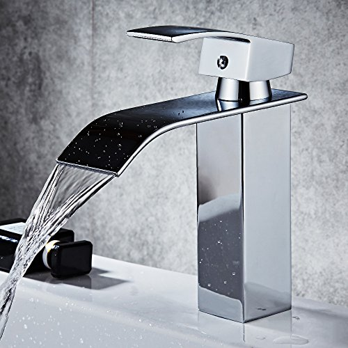 HOROW Single Handle Waterfall Bathroom Vanity Sink Faucet with Extra Large Rectangular Spout, Chrome (1/2' Brass Spout Solid Tub)