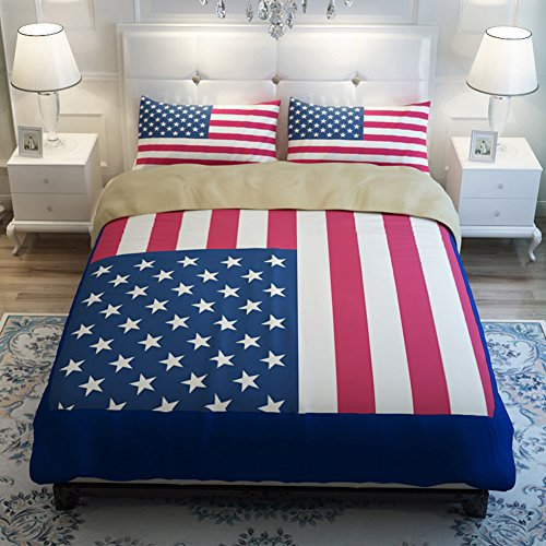 Sport do Well-design American Flag Bedding Set,Personality Customization Duvet Cover Set,Shrink, Fade, Stain Resistant ,Soft Bed Set(3-Piece,Twin) - Flag Comforter Set