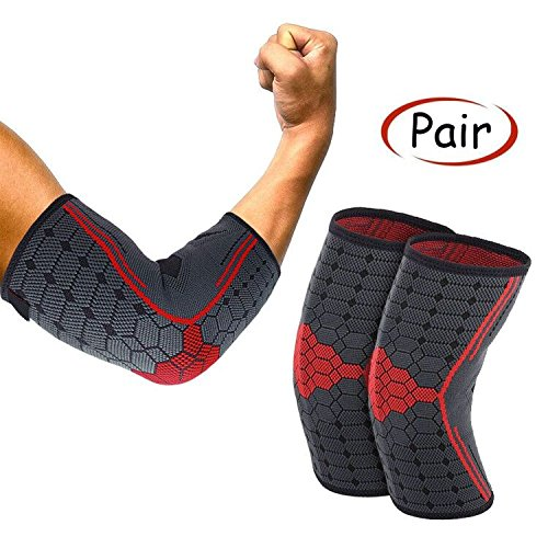 Geyi Elbow Brace Compression Support Sleeve- Best Elbow Sleeve for Tennis Elbow,Golfers Elbow,Tendonitis,Arthritis,Weightlifting,Injury Recovery
